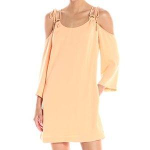 NWT Orange Cold Shoulder Cross Back Pocket Dress